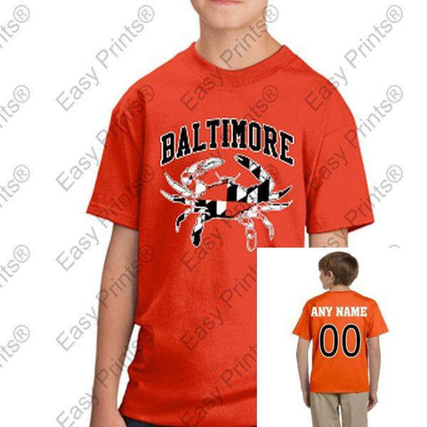 Custom Kids Baltimore Maryland Flag Crab Black and White Tshirt Orange