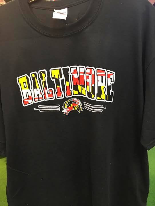 Baltimore Maryland Flag Crab Black T-Shirt
