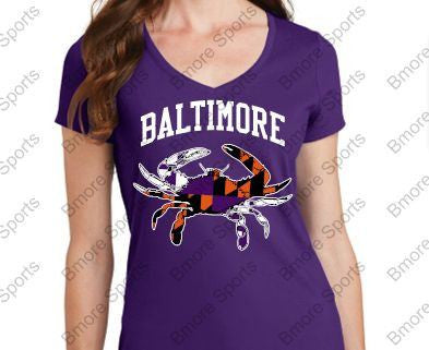 Baltimore Crab Ravens Orioles Purple Ladies V Tshirt