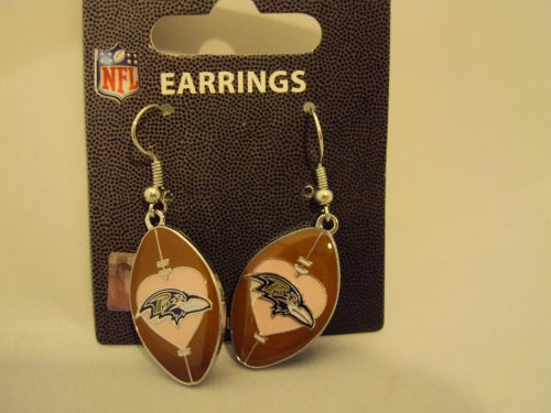 Baltimore Ravens NFL Pink Love Football Dangle Earrings