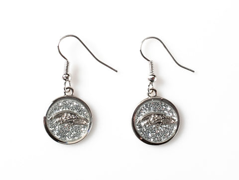 Baltimore Ravens Glitter Logo NFL Silver Dangle Earrings