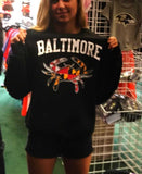 Baltimore Maryland Flag Crab Black Crew Sweatshirt