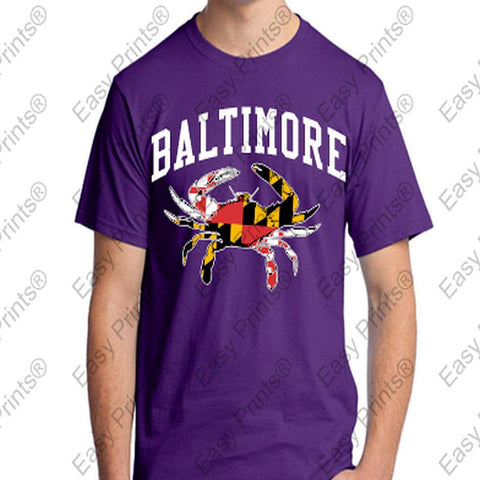 Baltimore Maryland Flag Ravens Purple Crab T-Shirt