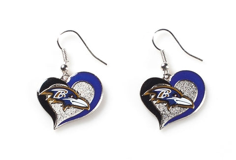 Baltimore Ravens NFL Silver Swirl Heart Dangle Earrings