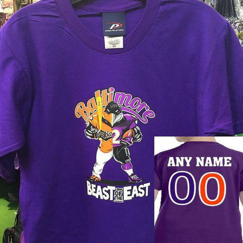 Custom Kids Beast of The East Ravens Orioles Tshirt Purple
