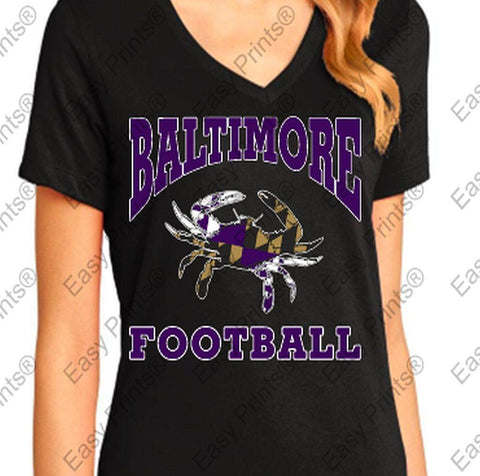 Baltimore Football Maryland Crab Ravens Ladies V T-Shirt