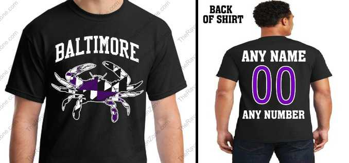 Custom Baltimore Ravens Colors Md Flag Crab Tshirt