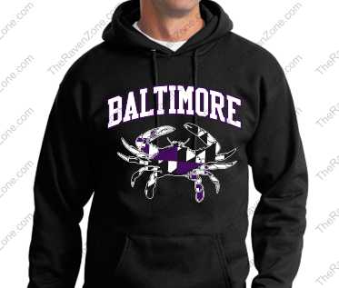 Baltimore Black Hoody Purple and White Crab