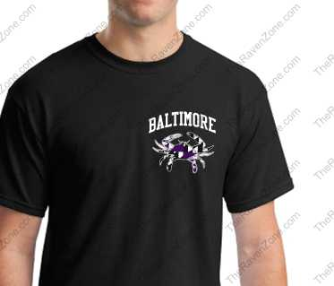 Baltimore Crab Left Chest And Back Print Ravens Colors Black Tshirt