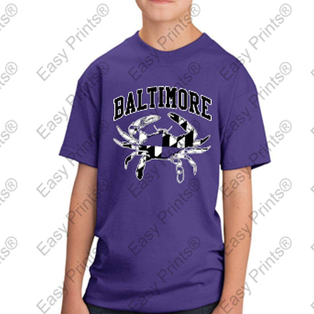 Baltimore Maryland Flag Crab Black and White Kids Tshirt Purple