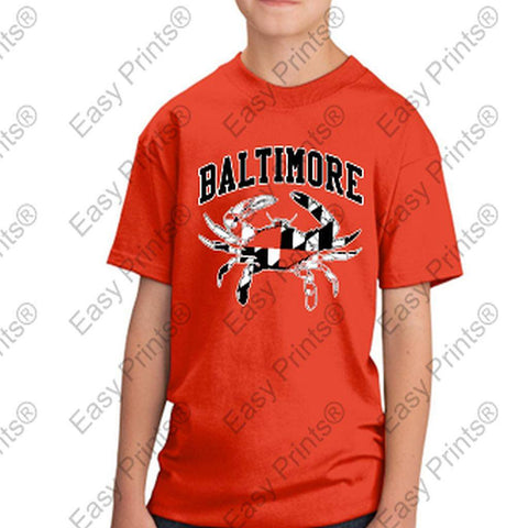 Baltimore Maryland Flag Crab Black and White Kids Tshirt Orange