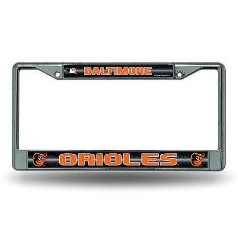 Baltimore Orioles Chrome License Plate Frame with Bling