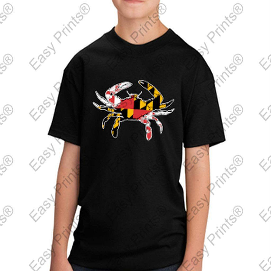 Baltimore Maryland Flag Crab Colors Kids Tshirt Black