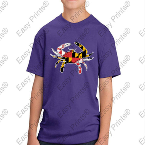 Baltimore Maryland Flag Crab Colors Kids Tshirt Purple