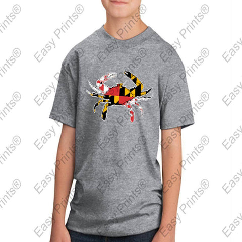 Baltimore Maryland Flag Crab Colors Kids Tshirt Gray