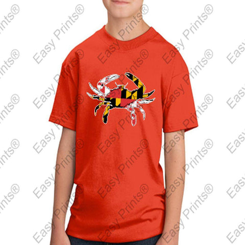 Baltimore Maryland Flag Crab Colors Kids Tshirt Orange