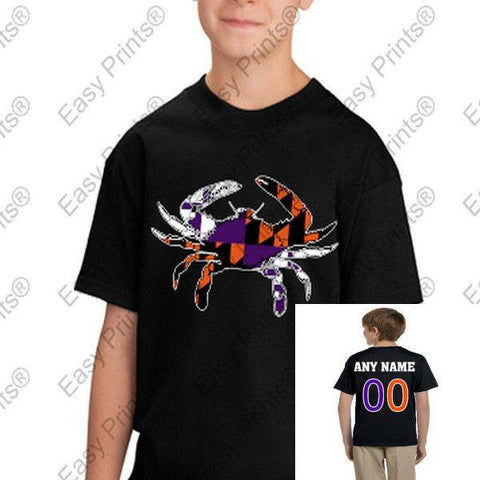 Custom Baltimore Maryland Flag Crab Ravens Orioles Colors Kids Tshirt Black