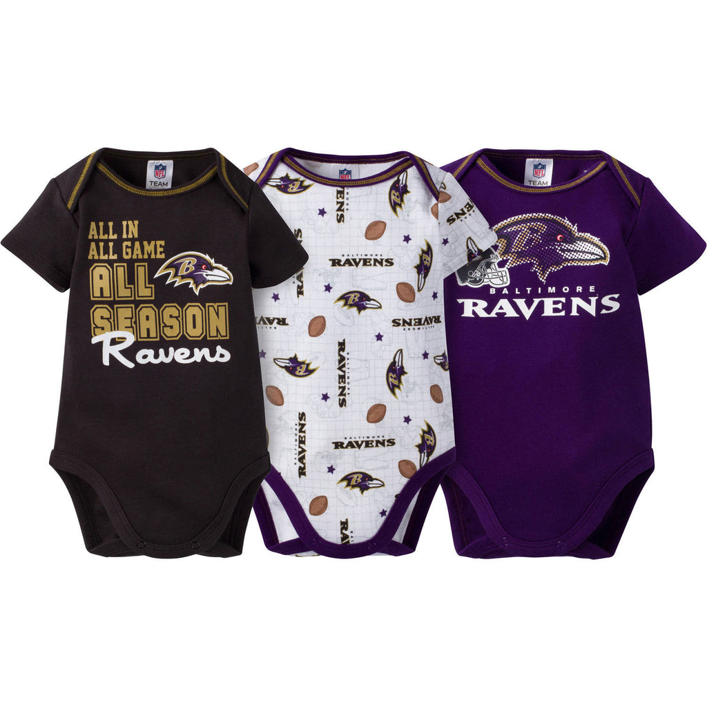 NFL Baltimore Ravens Baby Boys Short Sleeve Bodysuit Set, 3-Pack