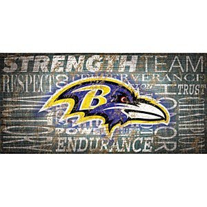 Baltimore Ravens Heritage Word Collage Sign