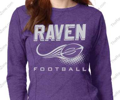 Ravens Football Glitter Print Ladies Purple Crew Sweatshirt