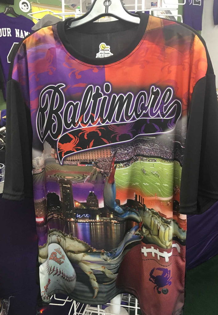 Custom Baltimore Ravens Orioles Split Baltimore Theme Sublimated Tshirt