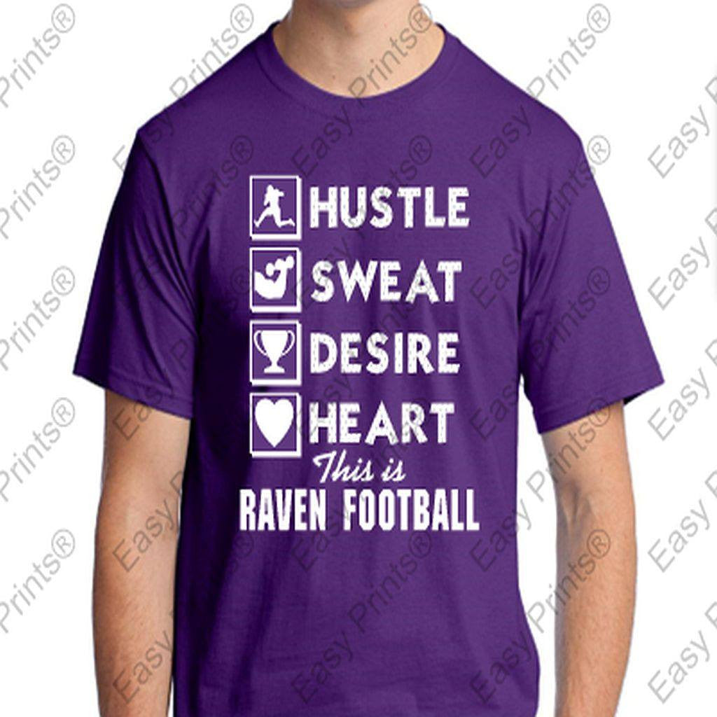 Hustle Sweat Desire Heart Baltimore Ravens Purple T-Shirt