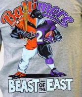 Custom Beast of The East Baltimore Ravens Orioles Gray Gear