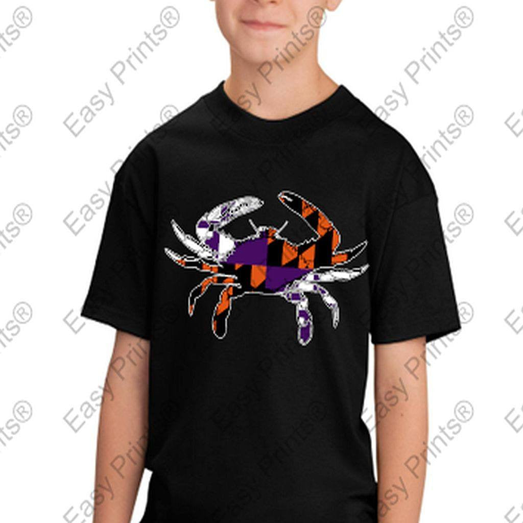 Baltimore Maryland Flag Crab Ravens Orioles Colors Kids Tshirt Black