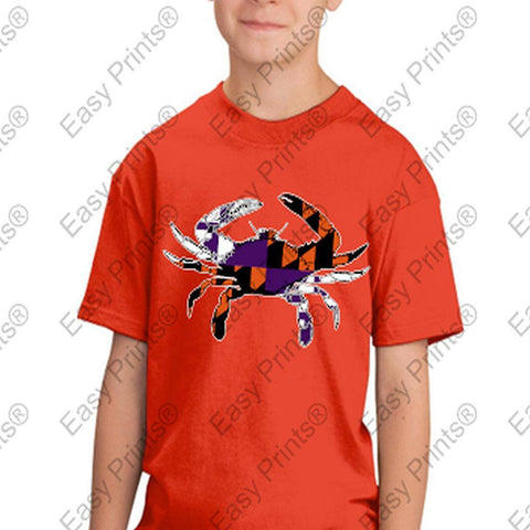 Baltimore Maryland Flag Crab Ravens Orioles Colors Kids Tshirt Orange