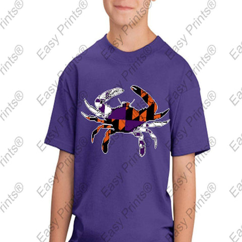 Baltimore Maryland Flag Crab Ravens Orioles Colors Kids Tshirt Purple
