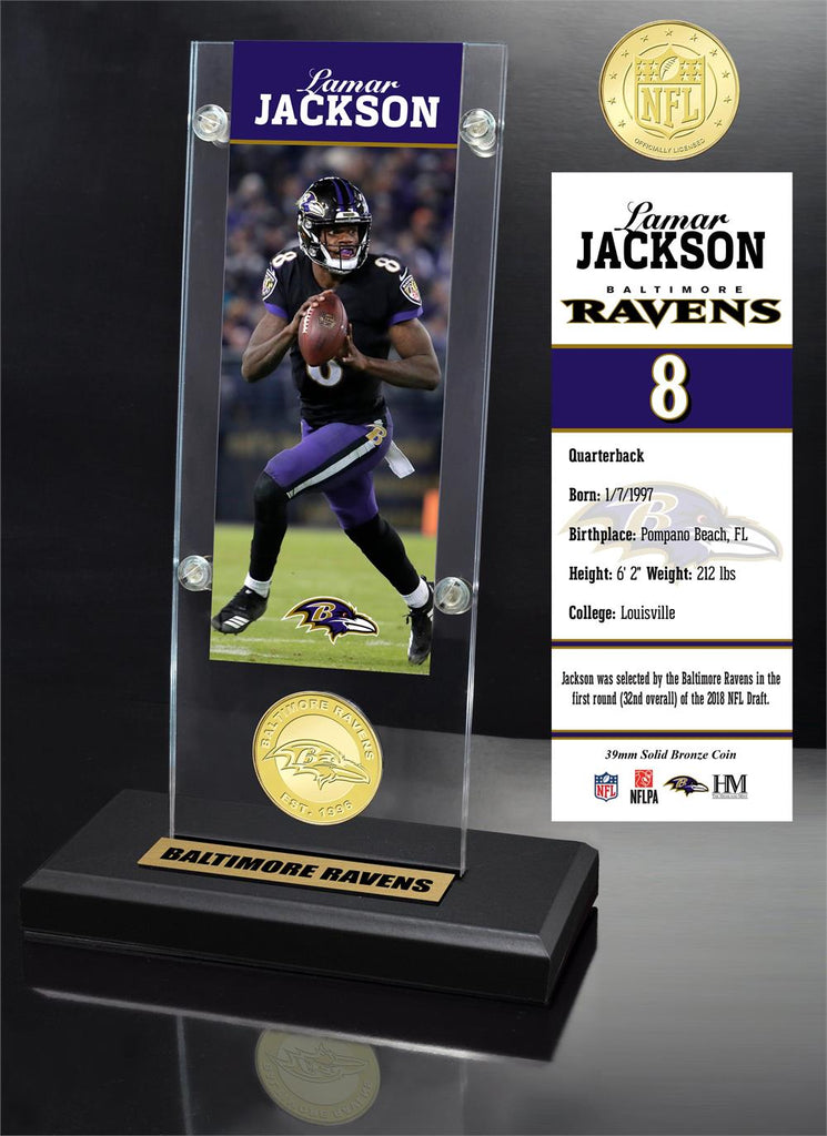 Lamar Jackson Ticket & Bronze Coin Acrylic Desk Top
