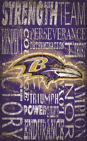 "Baltimore Ravens 11""x19"" Heritage Word Collage Sign"