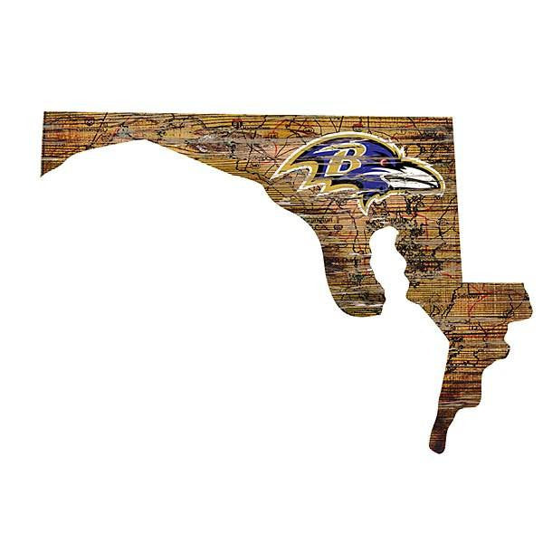 Baltimore Ravens State Cutout with Logo
