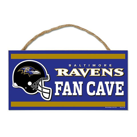 "Baltimore Ravens 5"" x 10"" Fan Cave Sign w/ Rope Sign"