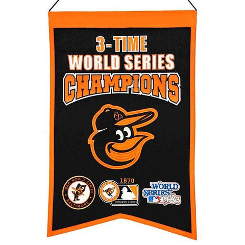 Baltimore Orioles 3-Time World Series Champions Banner Flag