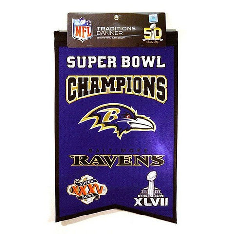 Baltimore Ravens 2-Time Superbowl Champions Banner Flag