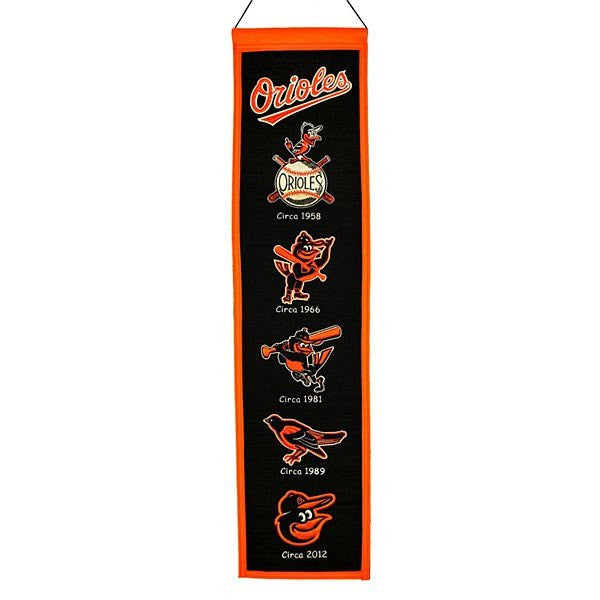 Baltimore Orioles Official MLB 8 inch x 32 inch Heritage Wool Banner Flag