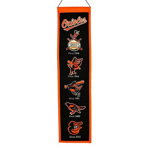 Baltimore Orioles Official MLB 8 inch x 32 inch Heritage Wool Banner Flag Sign