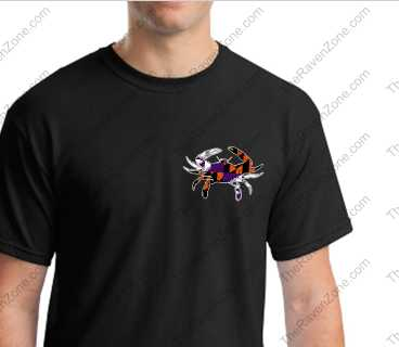 Baltimore Crab Left Chest Logo Ravens & Orioles Colors Tshirt