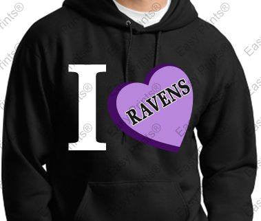 I LOVE Ravens Ladies Black Hoody