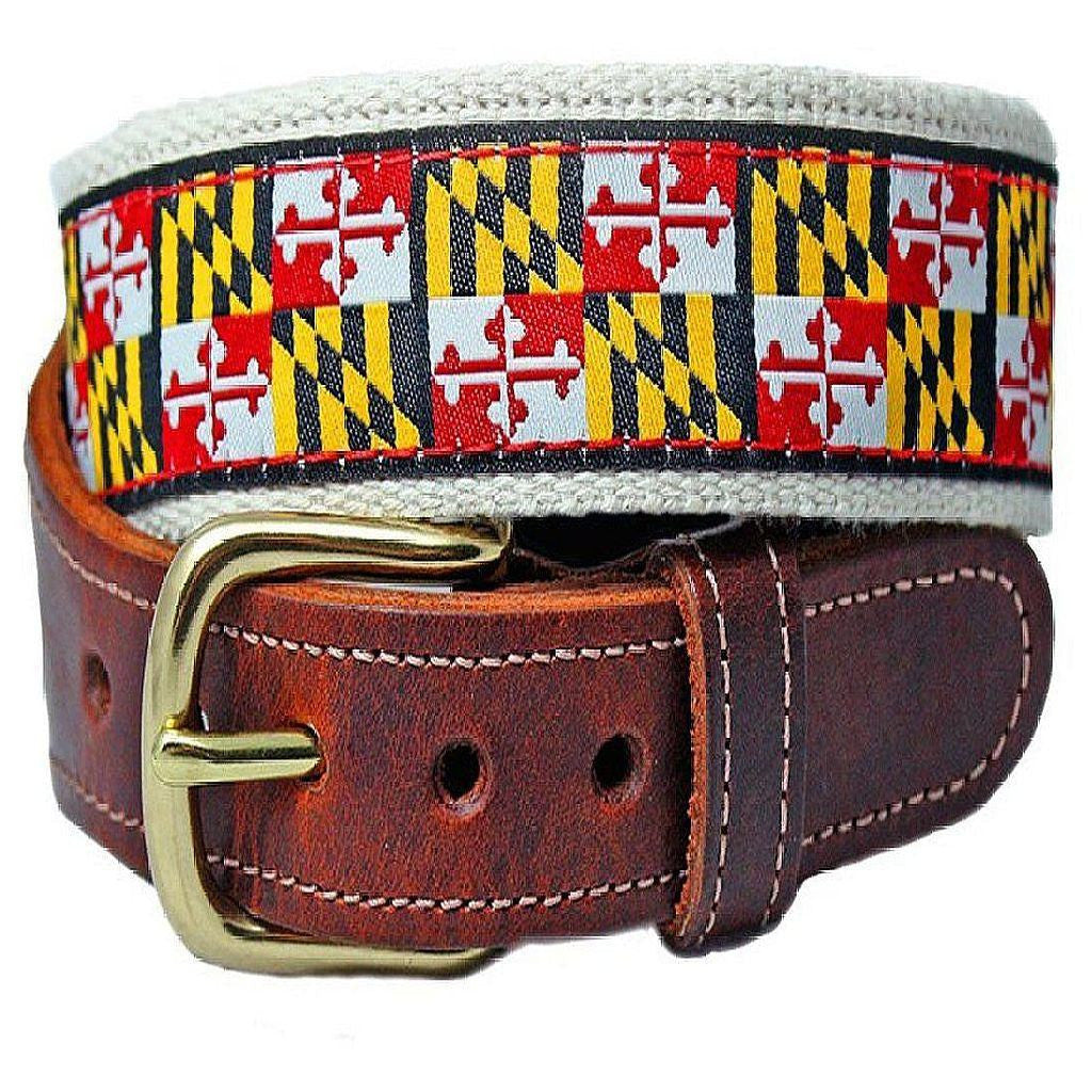 Maryland Flag Belt – Leather Tab