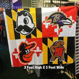 Maryland State 3x5 Foot Flag Ravens Orioles Natty Boh Terps