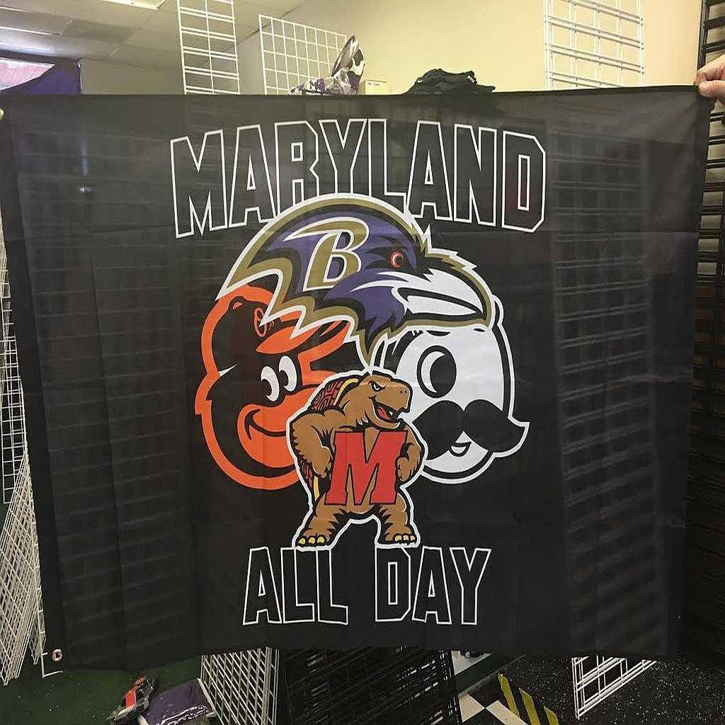 Maryland All Day 3x5 Foot Black Flag Ravens Orioles Natty Boh Terps