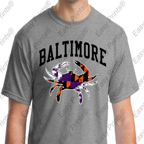 Baltimore Maryland Crab Orioles Ravens Colors Tshirt Gray