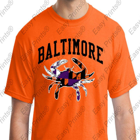 Baltimore Maryland Crab Orioles Ravens Colors Tshirt Orange