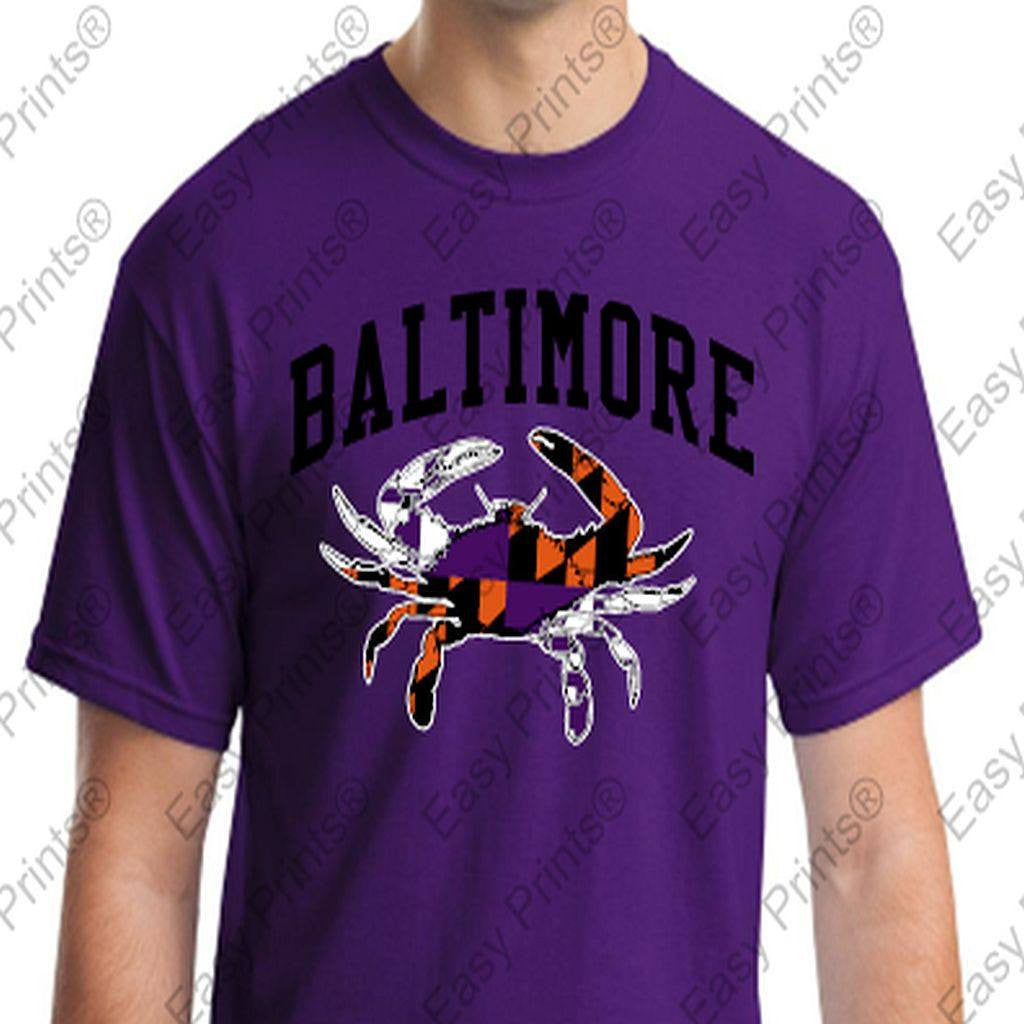 Baltimore Maryland Crab Orioles Ravens Colors Tshirt Purple