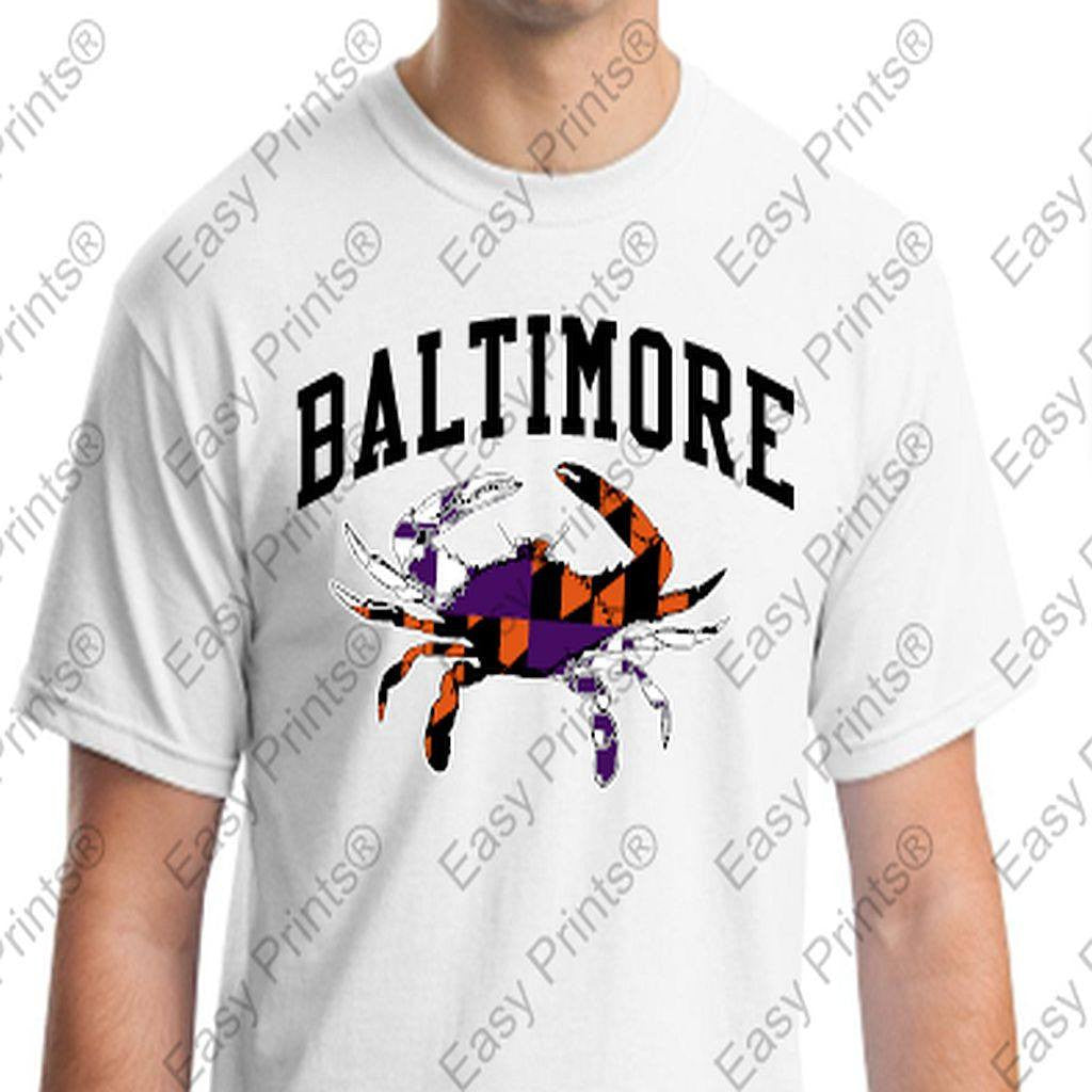 Baltimore Maryland Crab Orioles Ravens Colors Tshirt White