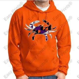 Baltimore Crab Ravens And Orioles Colors Orange Hoody