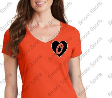 Baltimore Orioles Heart LOVE Ladies V Tshirt