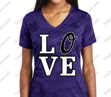 Love Orioles Purple Ravens Camo Ladies Sport-Tek V-Neck Tshirt